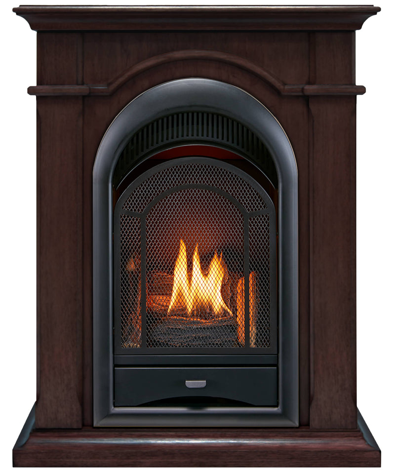 ProCom Dual Fuel Vent Free Gas Fireplace System - 15,000 BTU, T-Stat Control, Chocolate Finish - Model