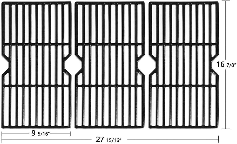 Avenger 16 7/8 Inch 68763 Polished Porcelain Coated Cast Iron Grill Grates Replacement for Charbroil 463436213, 463436214, 463436215, 463420508, 463420509, 463440109, 463441312, 463441514 Grills - Set of 3