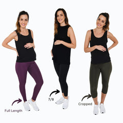 Maternity sports leggings in full length, 7/8 and cropped