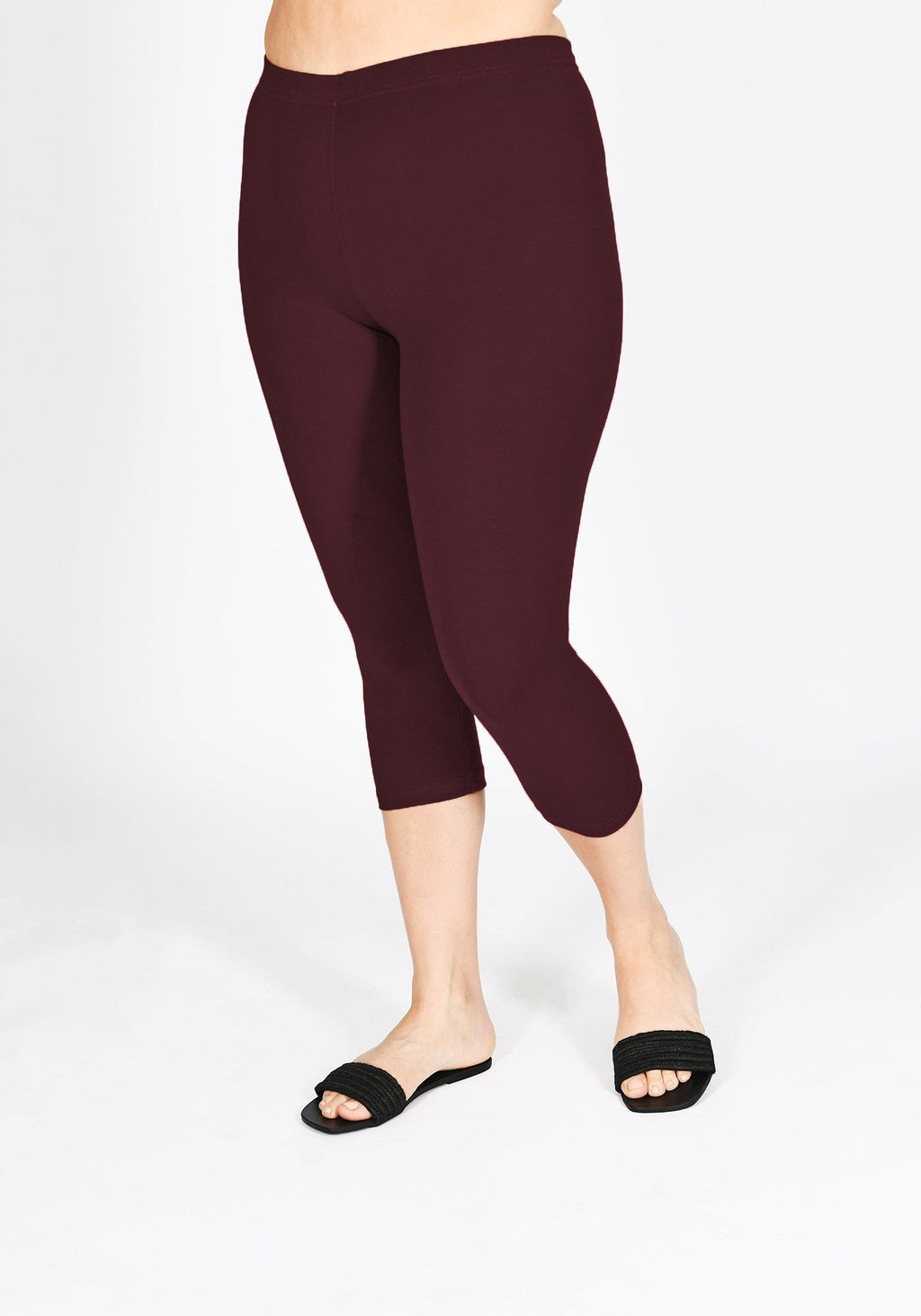 Plus Size Burgundy Cropped Leggings