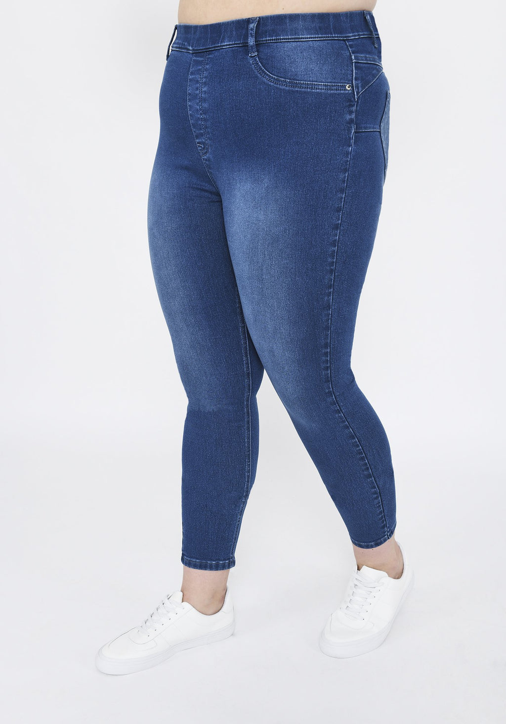 Plus Size Mid Blue Ankle Grazer Jeggings