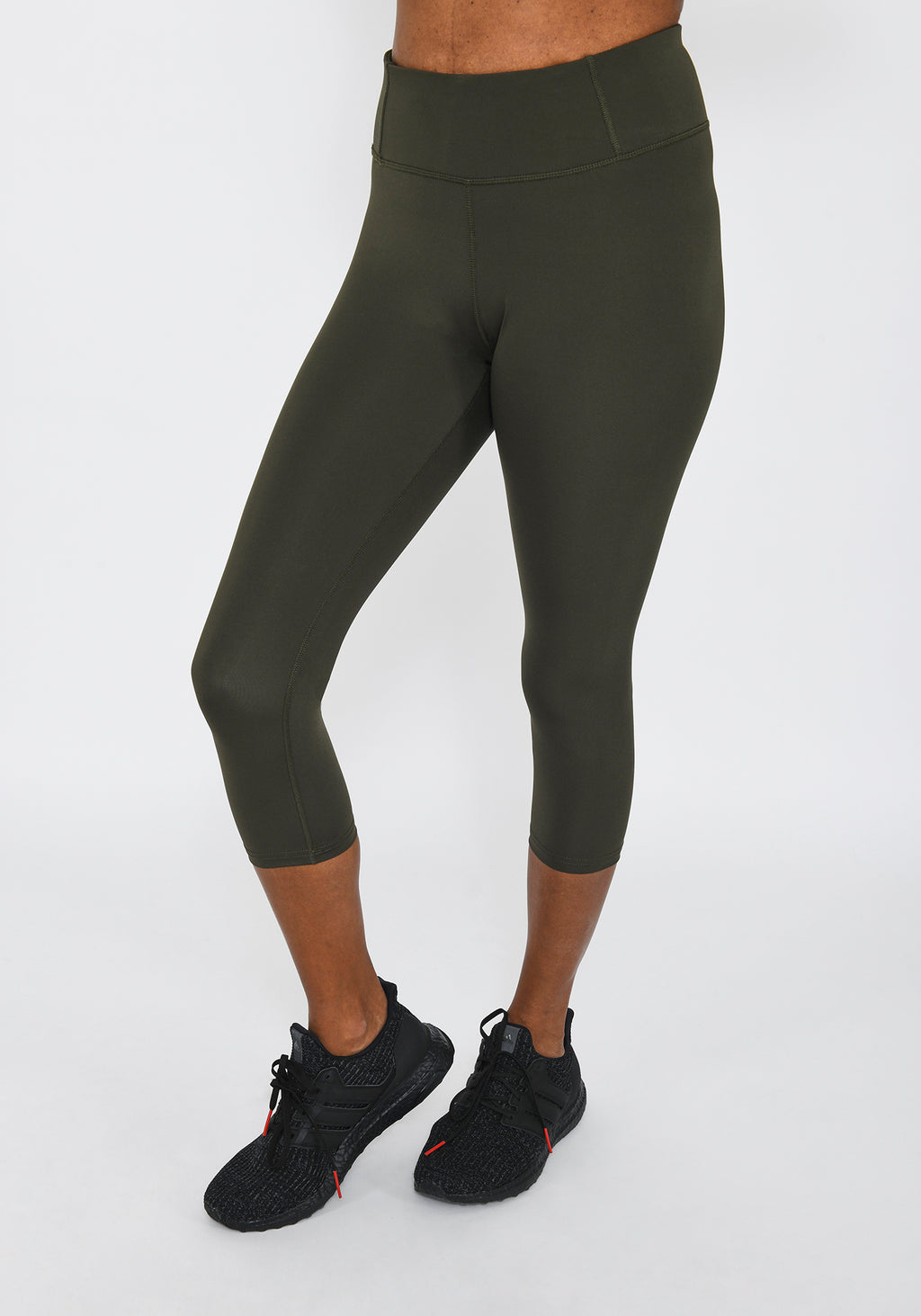 Focus Cropped Olive Green Sports Leggings