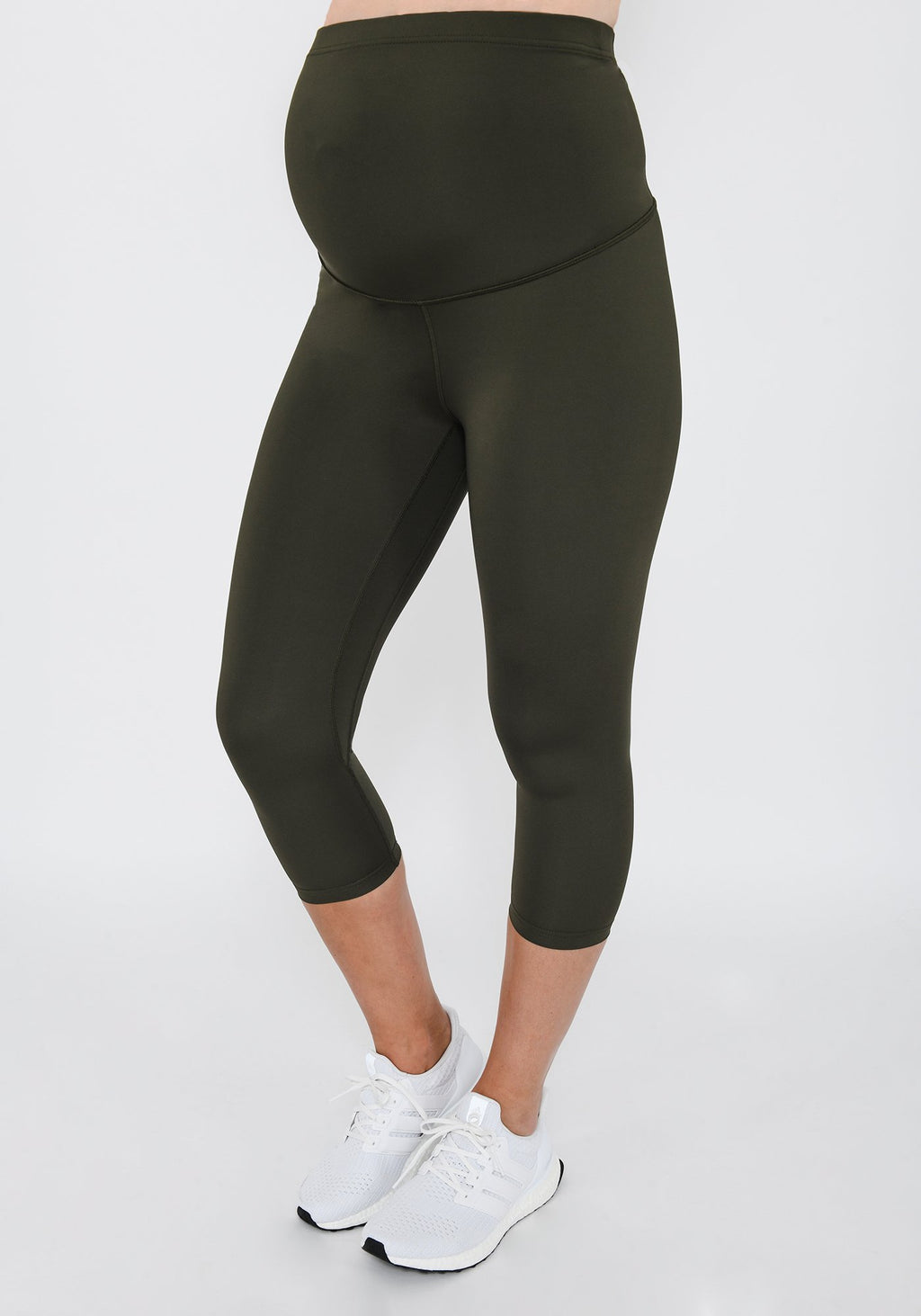 Focus Cropped Olive Green Maternity Sports Leggings
