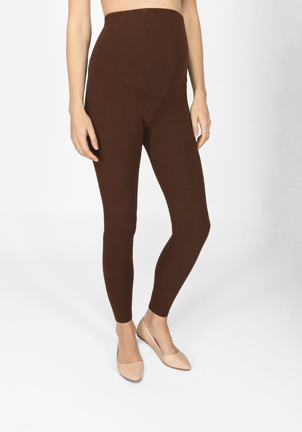 chocolate brown full length maternity leggings 1