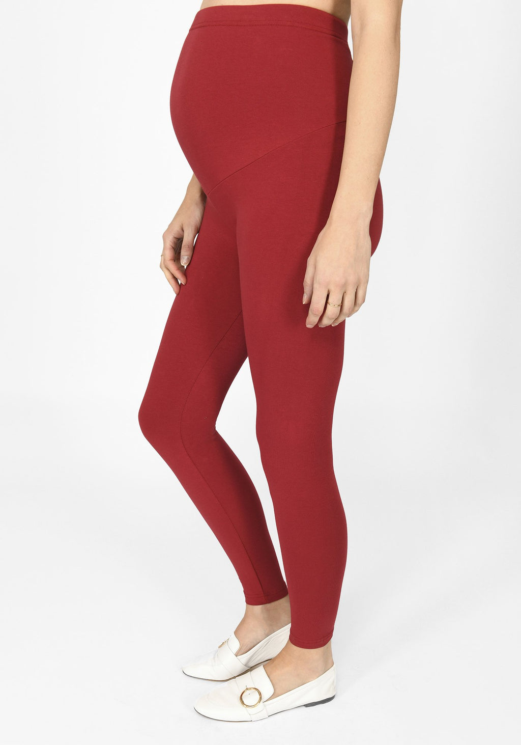 wine red full length maternity leggings 1