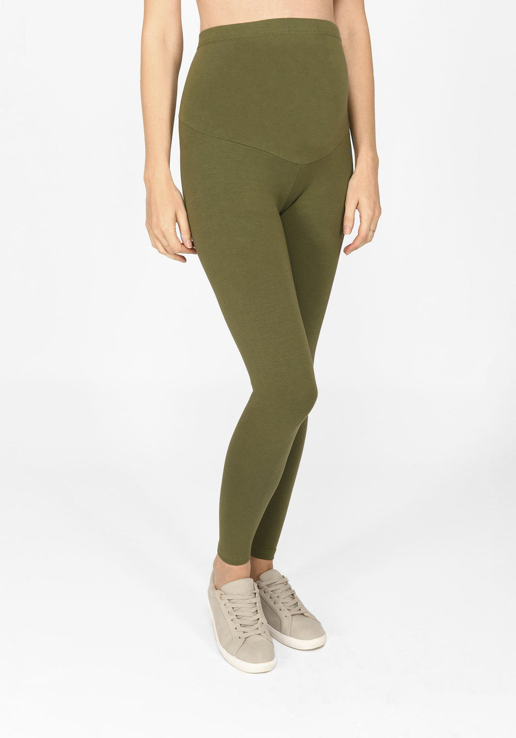khaki green full length maternity leggings 1