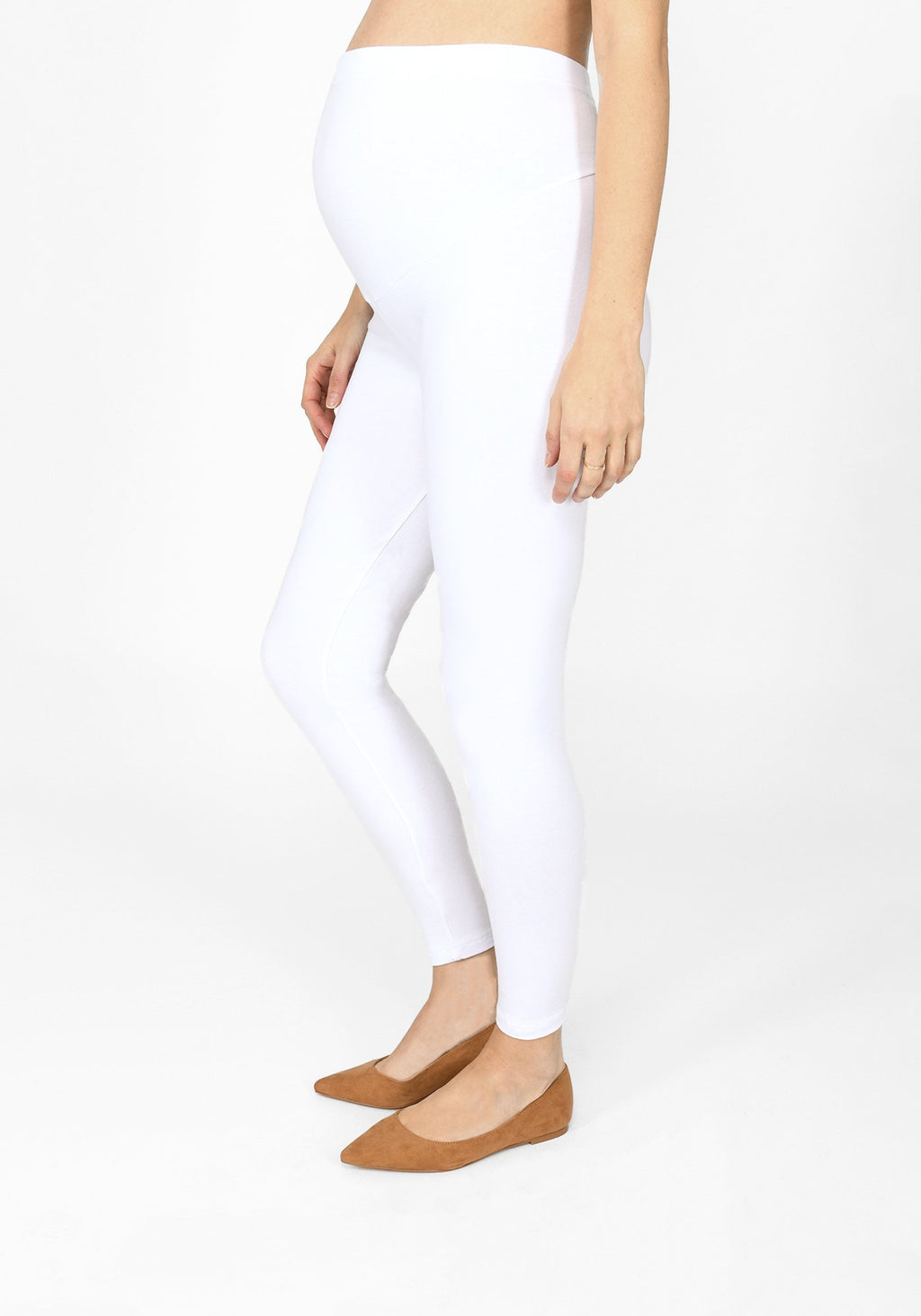 white full length maternity leggings 1