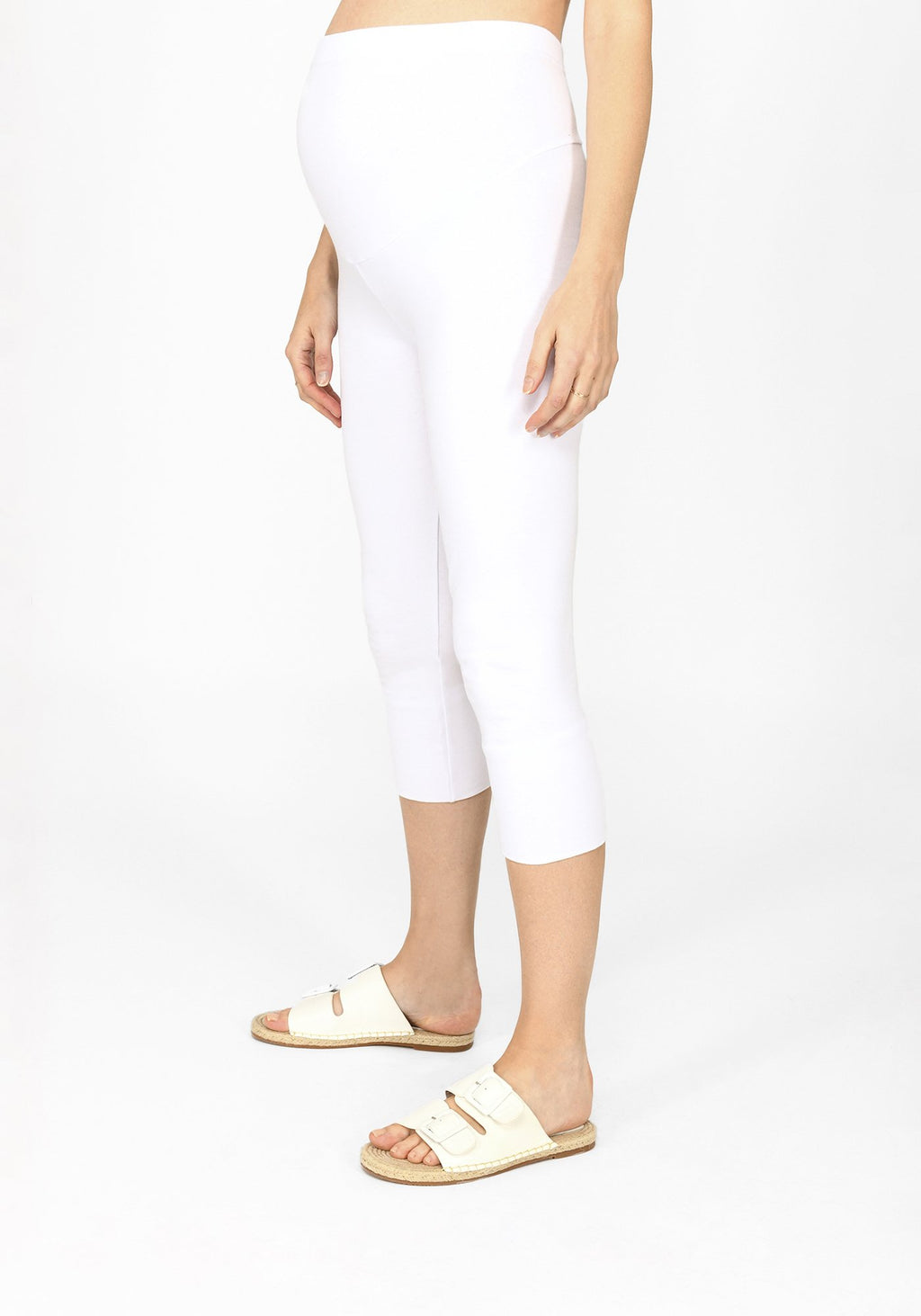 white cropped maternity leggings 1