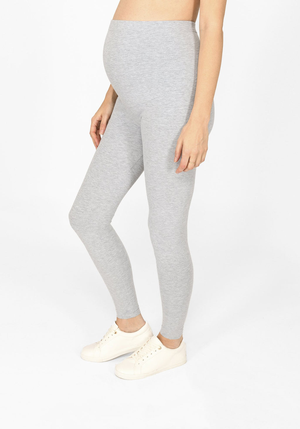 light grey marl full length maternity leggings 1