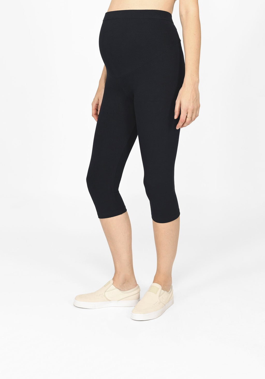 navy blue cropped maternity leggings 1