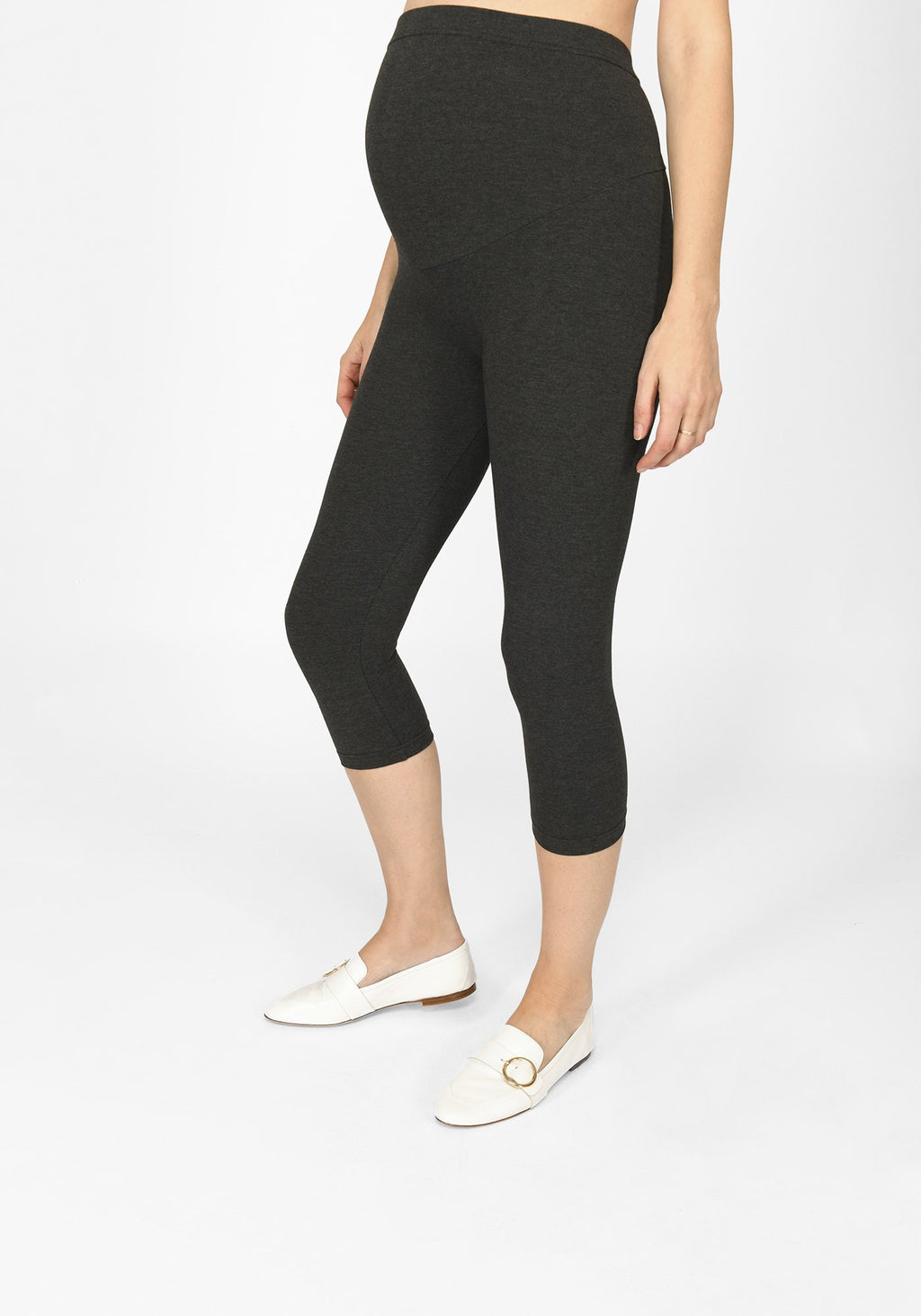 dark grey marl cropped maternity leggings 1