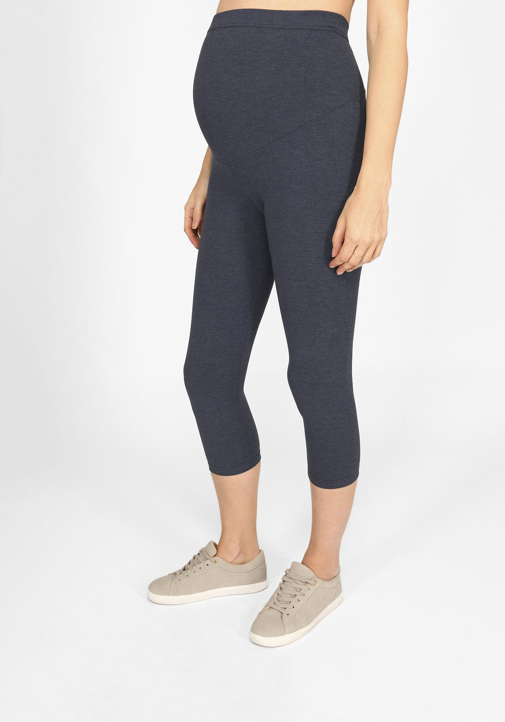 infinity blue marl cropped maternity leggings 1