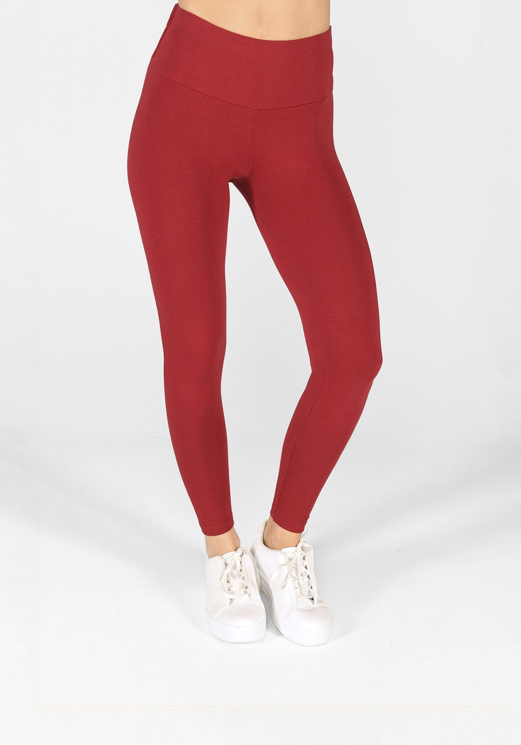 red wine high waisted classic leggings 1