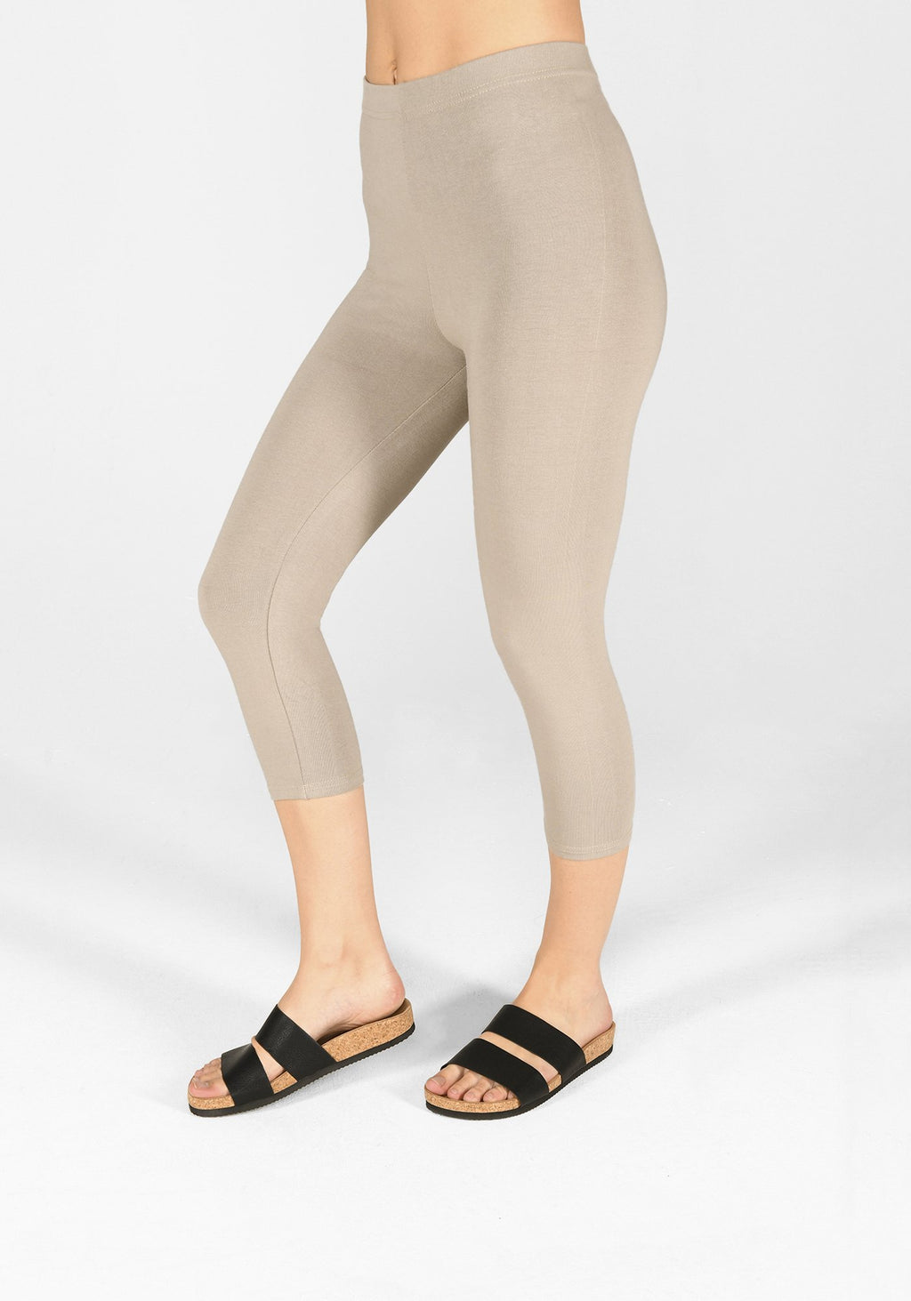 oatmeal beige cropped classic leggings 1