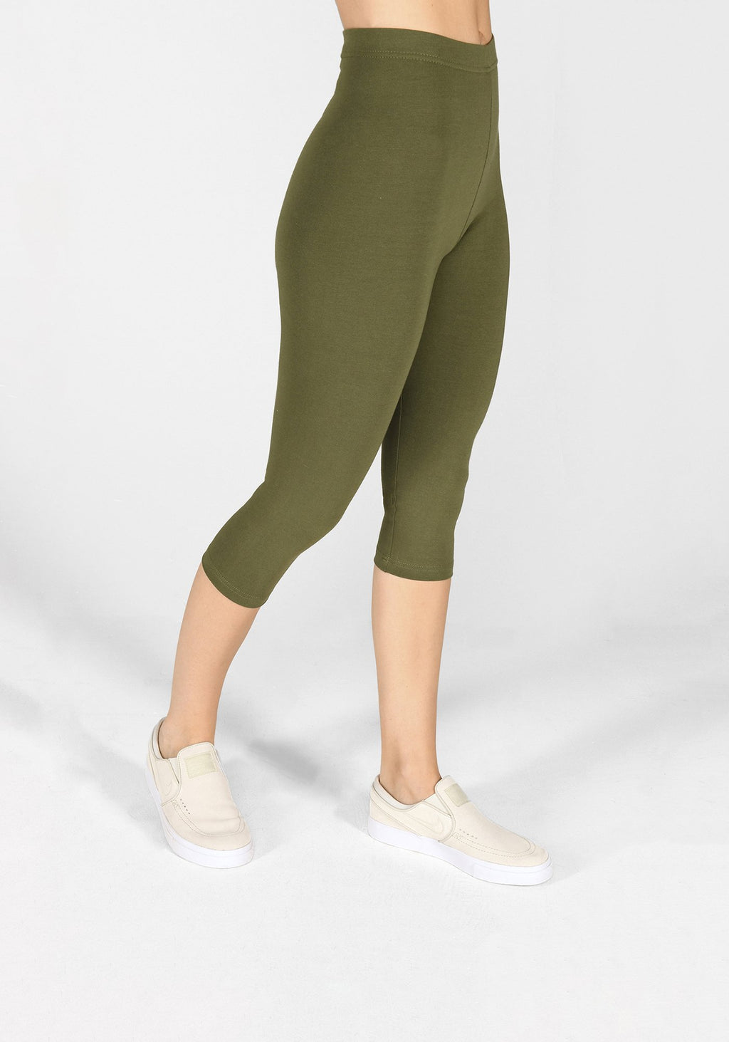khaki green cropped leggings 1