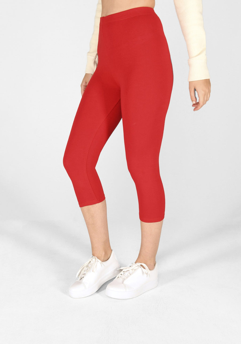 poppy red cropped classic leggings 1