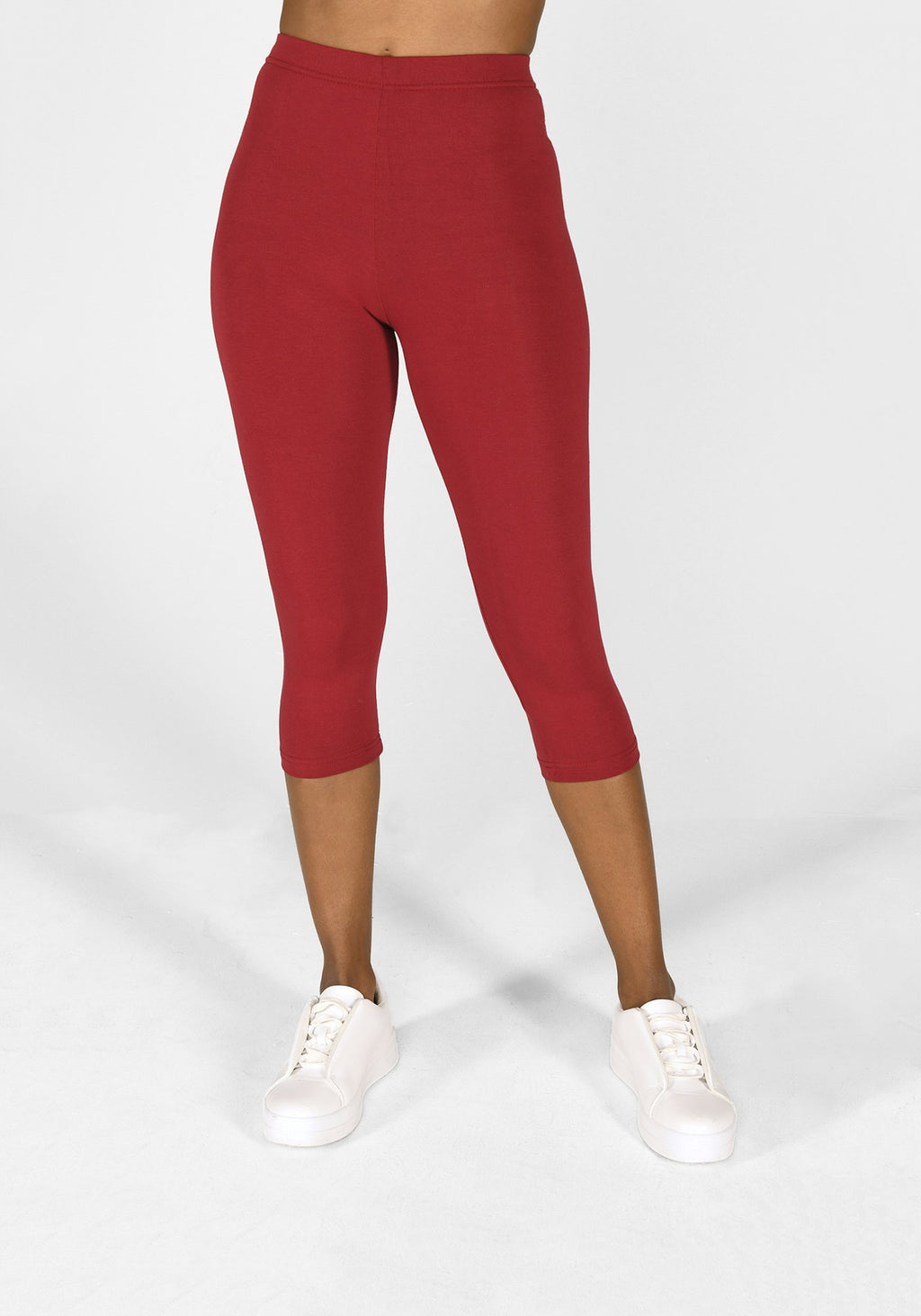 red wine cropped classic leggings 1