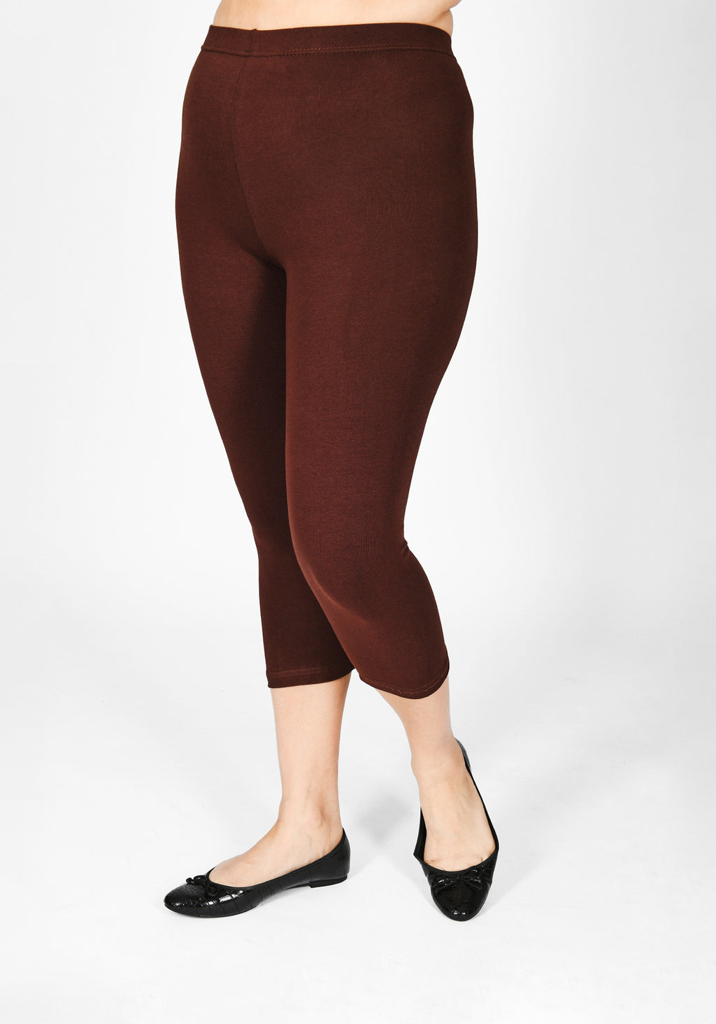 Plus Size Chocolate Brown Cropped Leggings