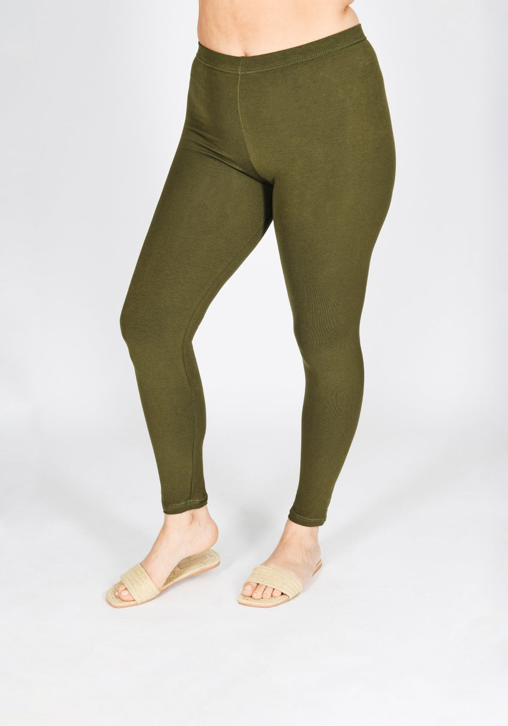 Classic Plus Size Khaki Green Leggings 1