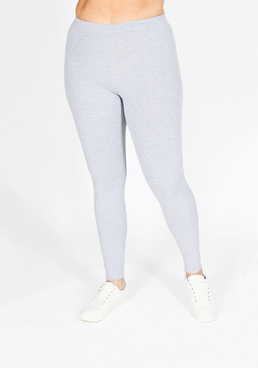 Classic Plus Size Light Grey Marl Leggings 1
