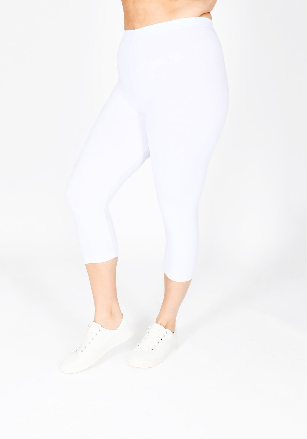 Plus Size White Cropped Leggings 1
