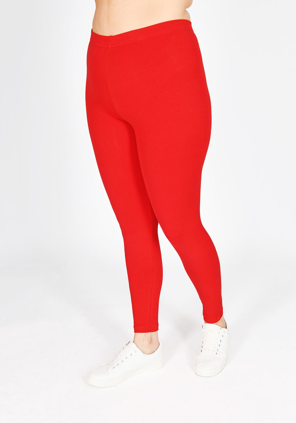 Classic Plus Size Poppy Red Leggings 1