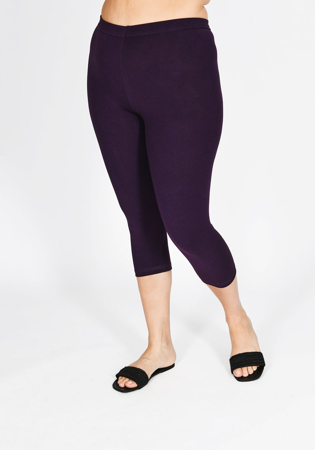 Plus Size Acai Purple Cropped Leggings 1