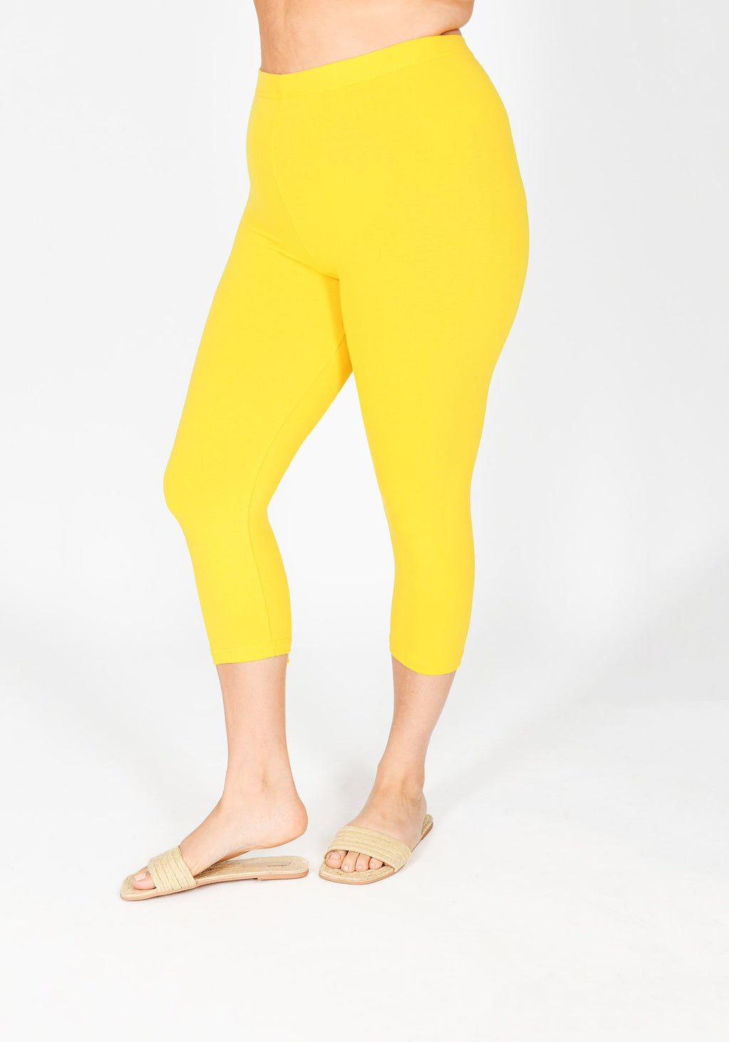 Plus Size Buttercup Yellow Cropped Leggings 1