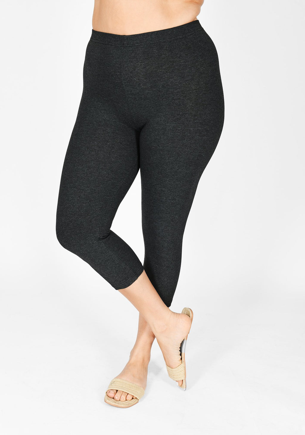 Plus Size Dark Grey Marl Cropped Leggings 1