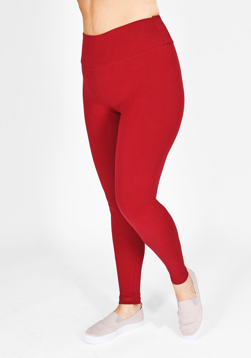 Plus Size Red Wine High Waisted Leggings 1
