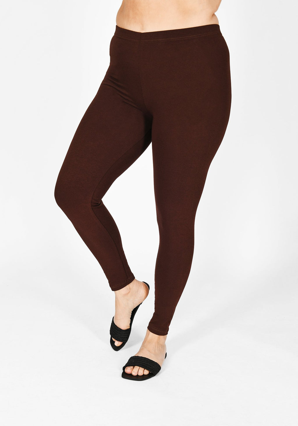 Classic Plus Size Chocolate Brown Leggings 1