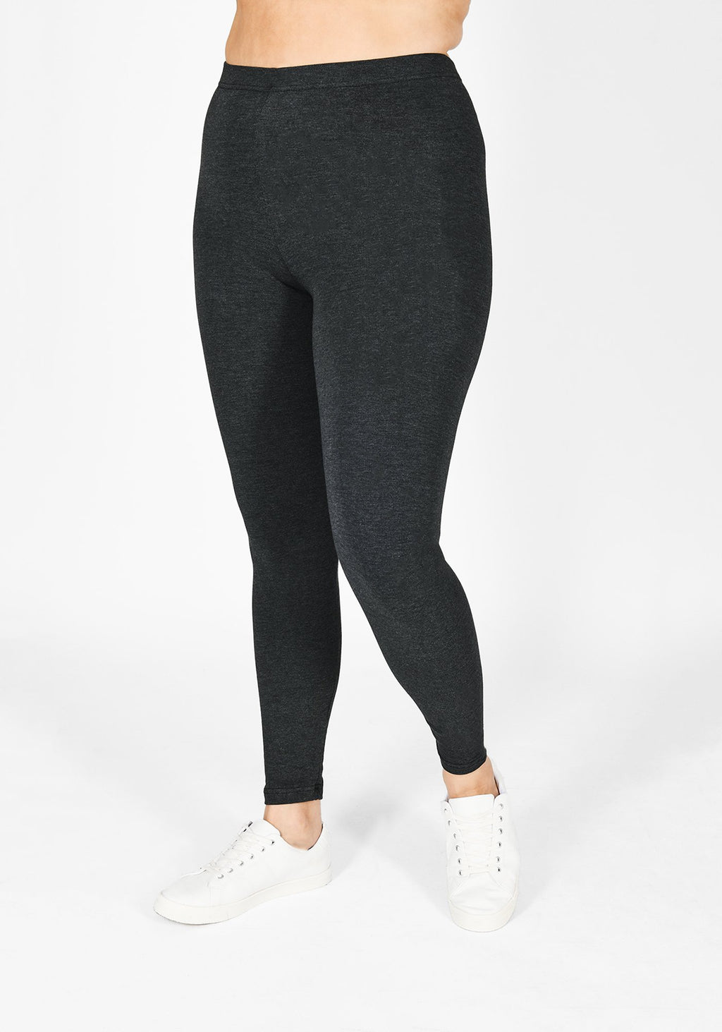 Classic Plus Size Dark Grey Marl Leggings 1