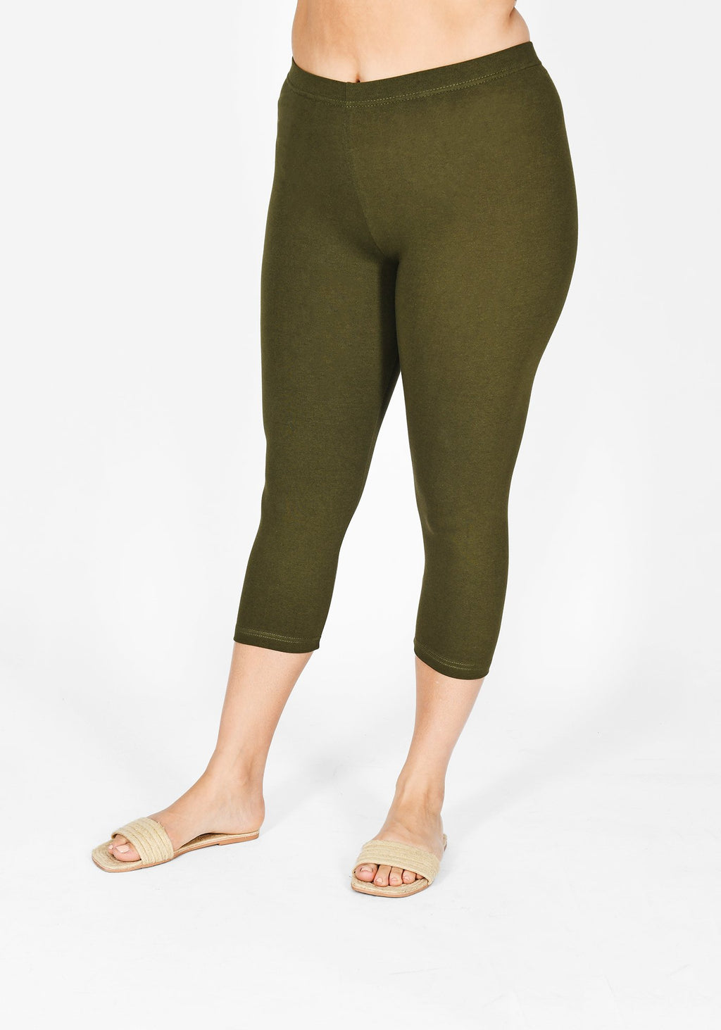Plus Size Khaki Green Cropped Leggings 1