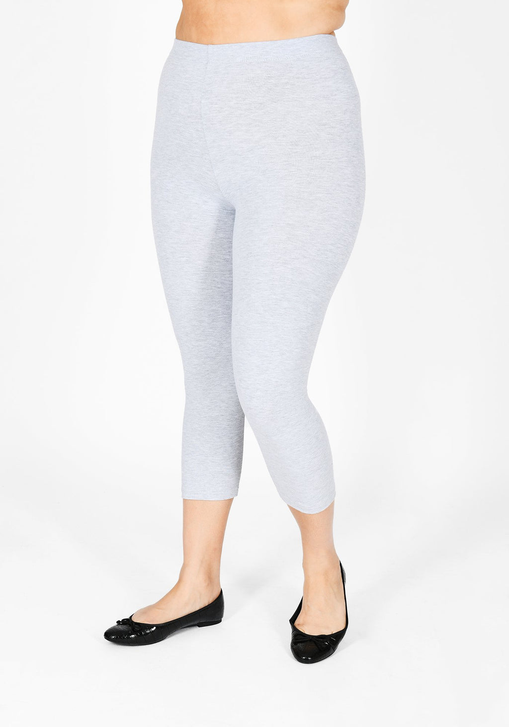 Plus Size Light Grey Marl Cropped Leggings 1