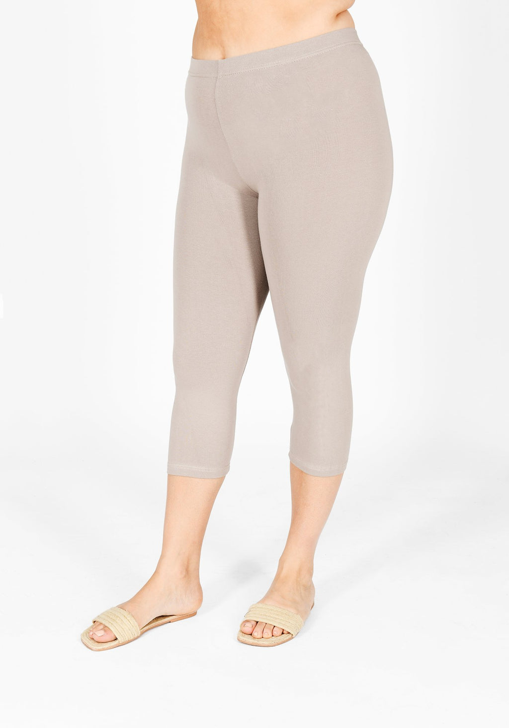 Plus Size Oatmeal Beige Cropped Leggings 1