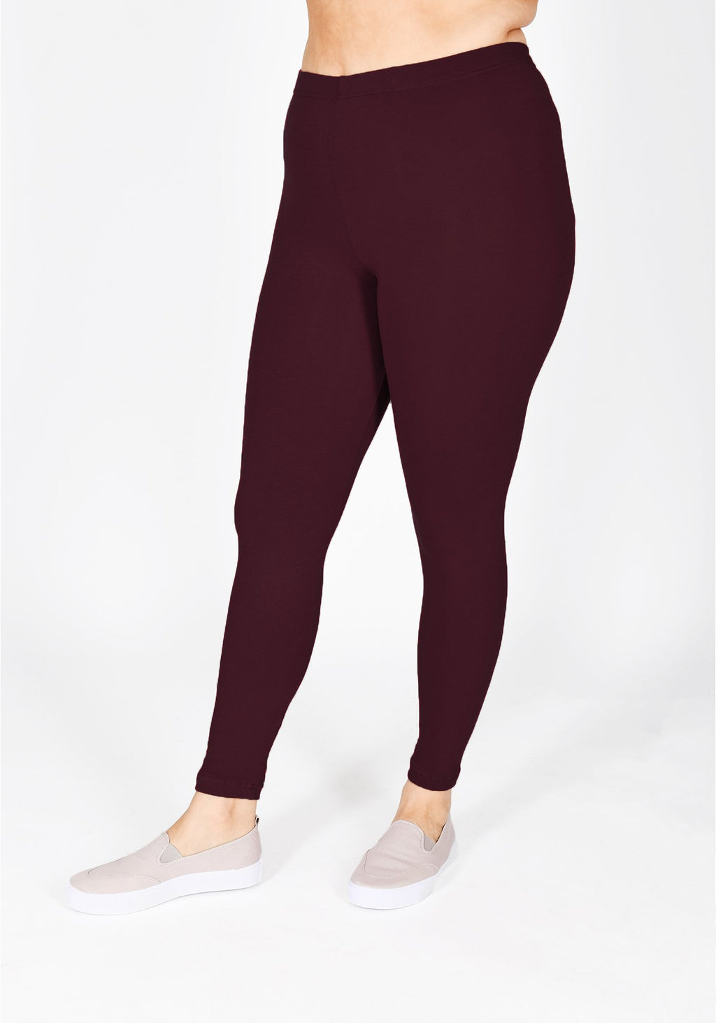 Classic Plus Size Burgundy Leggings