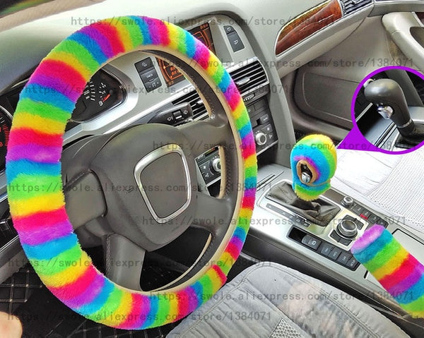 Rainbow steering wheel cover set