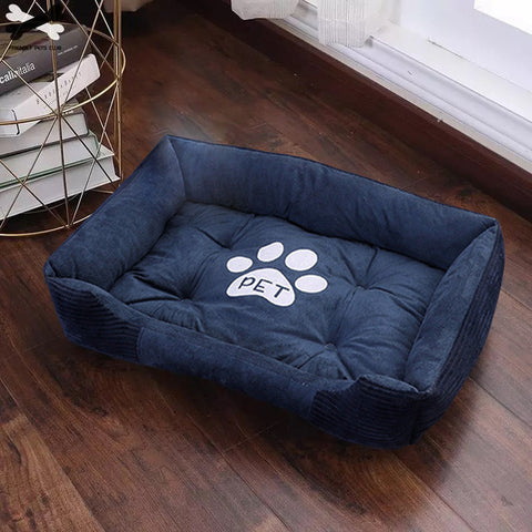"Blue comfortable ""paw"" bed for pets"