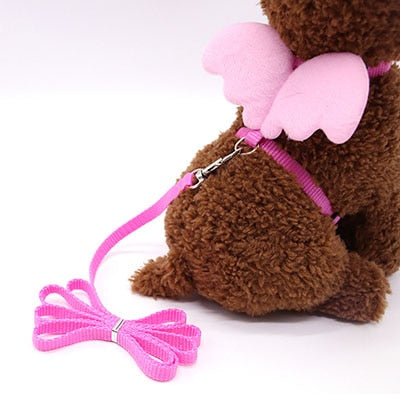 Pink angel wings harness and leash