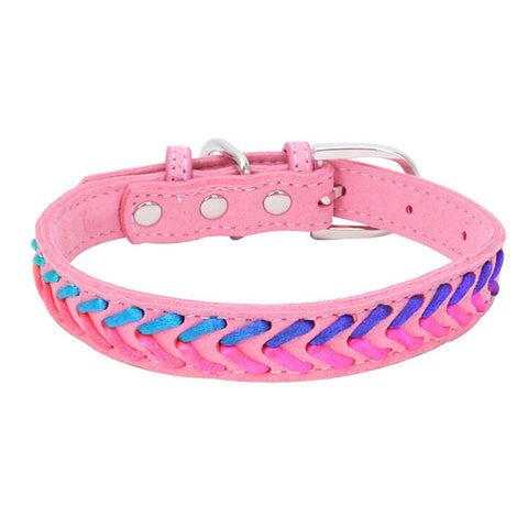 Pink colorful leather collar for pets