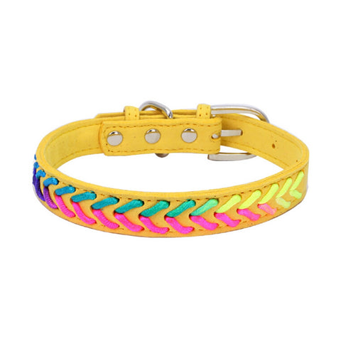 Yellow&green leather collar for pets