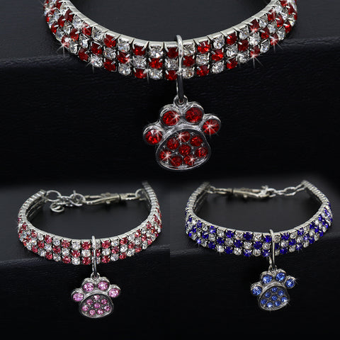 Red&pink diamond collar for cats