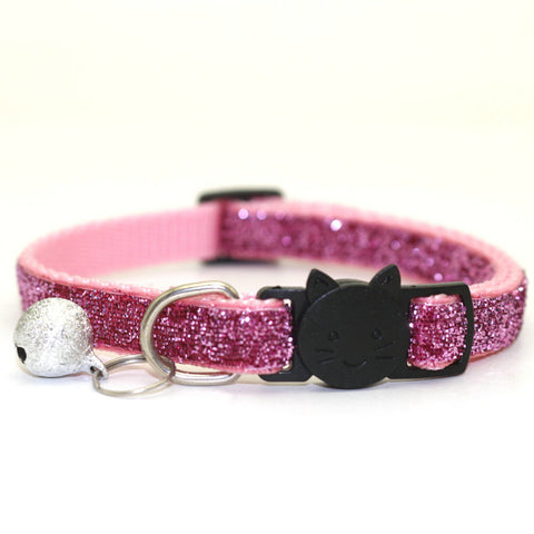 Pink&purple sparkles cat collar with bell
