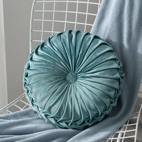 Blue & grey velvet round elegant pillow