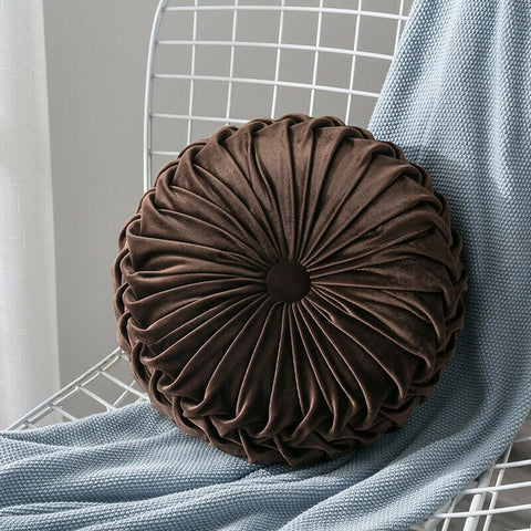 White & brown velvet round elegant pillow