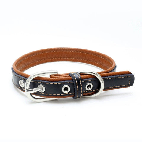 White&Brown leather collar for pets