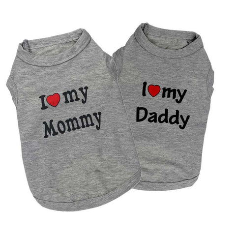 Grey I love mommy&daddy t-shirt