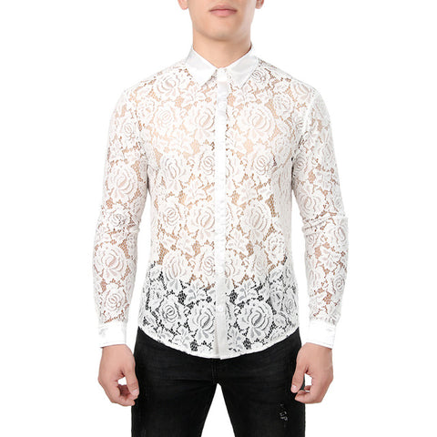 Stylish flowered lace shirt for men
