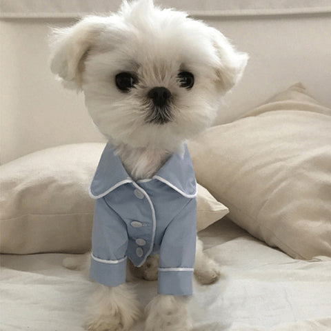 Blue & white luxury pet pijamas