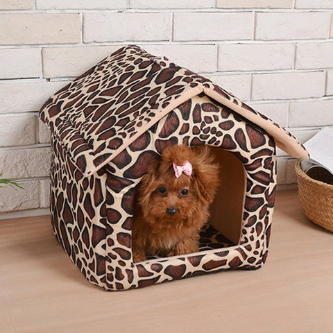 Leopard foldable house for pet